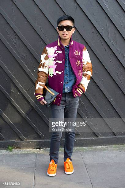 Stylist Declan Chan wearing Pharell Williams for Adidas Stan Smith trainers Acne jeans Proenza Schouler Denim jacket Sankuanz bomber jacket Marc by...