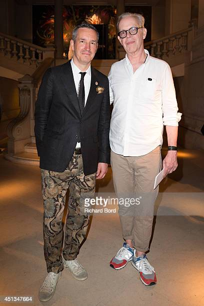 Stylist Dries Van Noten and Illustrator Richard Haines attend the Dries Van Noten Exhibition Party as part of the Paris Fashion Week Menswear...