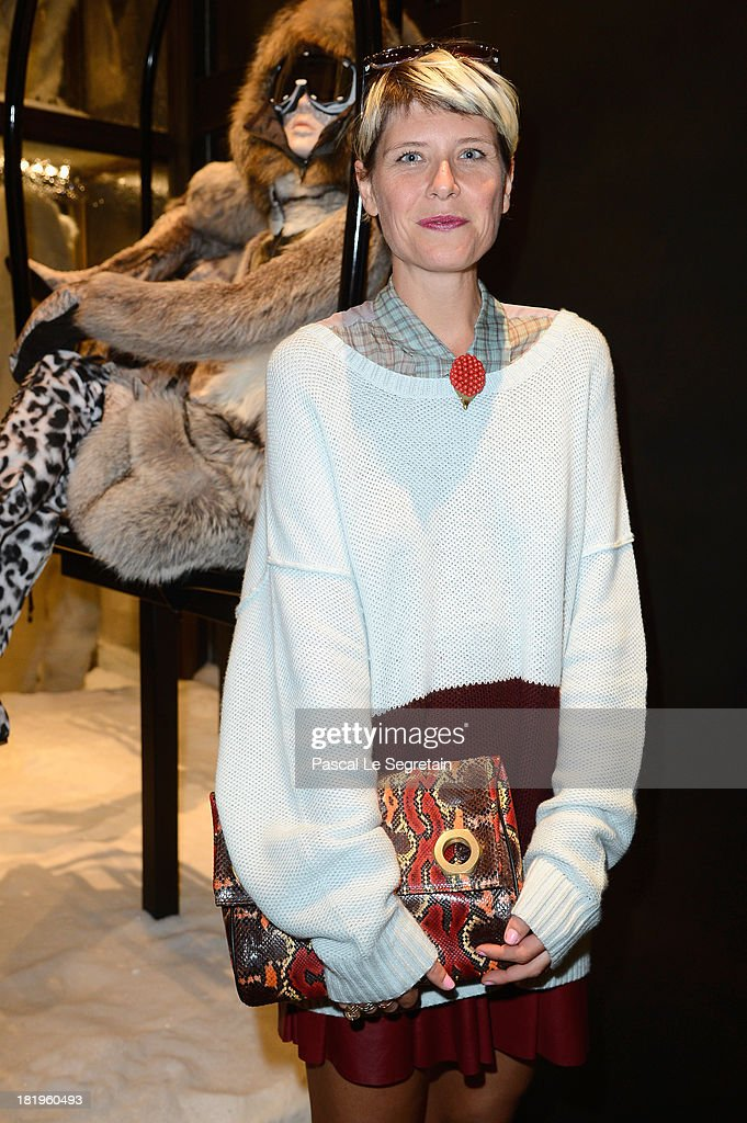 Stylist Elisa Nalin attends the cocktail for the Moncler New Flagship Opening in Paris at Rue Du Faubourg Saint-Honore on September 26, 2013 in Paris, France.