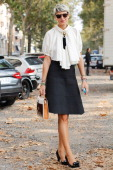 Stylist Elisa Nalin is seen on the streets of Milan on September 23 2013 in Milan Italy