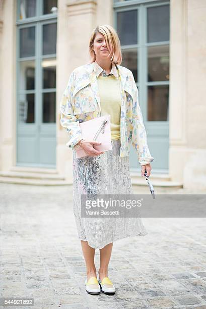 Stylist Elisa Nalin poses before the Schiaparelli show in Place Vendome during Paris Fashion Week Haute Couture FW 16/17 on July 4 2016 in Paris...