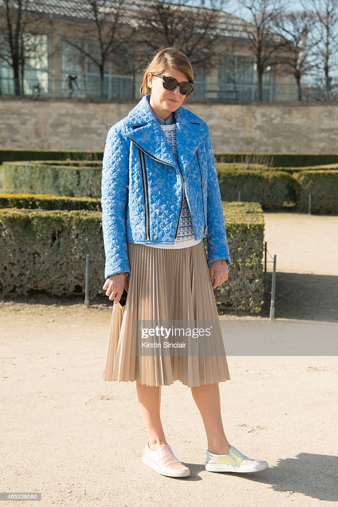 Stylist Elisa Nalin wears Jourdan jacket and Tomo skirt on day 3 of Paris Collections Women on March 05 2015 in Paris France