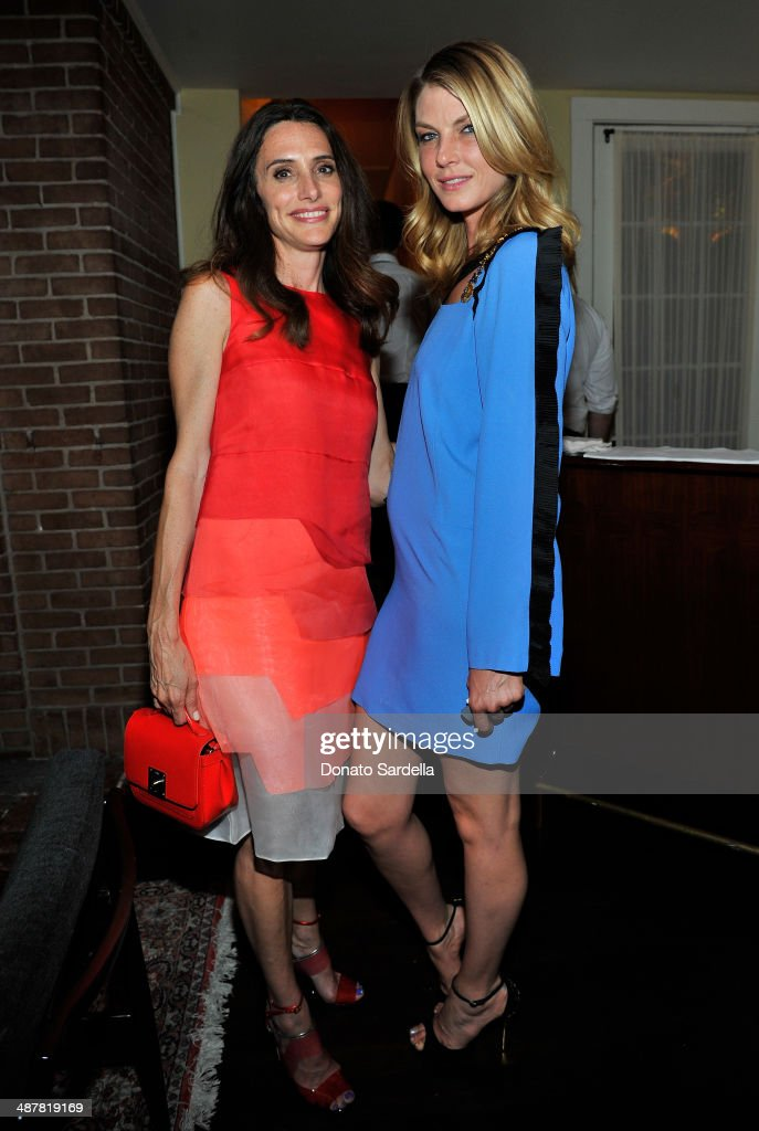 Stylist Elizabeth Stewart and model Angela Lindvall attend A private dinner In honor of Fausto Puglisi of Emanuel Ungaro hosted by Barneys New York at Chateau Marmont on May 1, 2014 in Los Angeles, California.