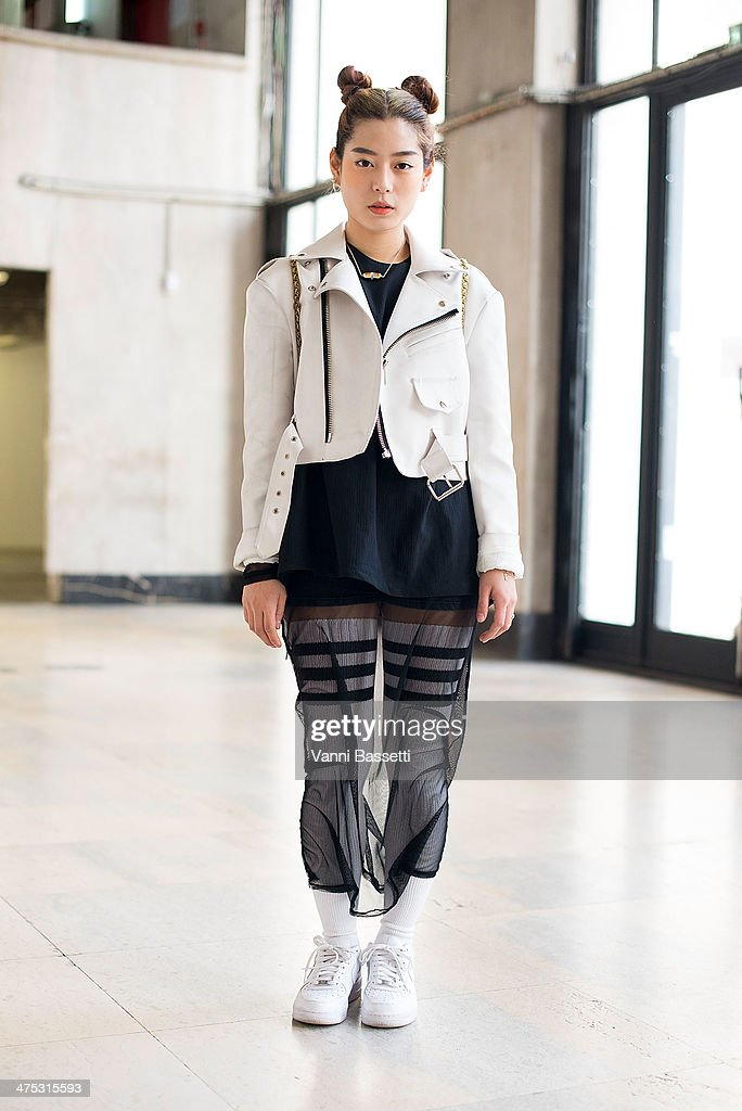 Stylist Eun Song Yoo poses before Damir Doma show at the Palais de Tokyo on February 26, 2014 in Paris, France.