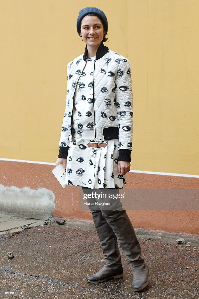 Stylist Eva Fontanelli wearing an Au Jour Le Jour total look attends the Milan Fashion Week Womenswear Fall/Winter 2013/14 on February 25, 2013 in Milan, Italy.