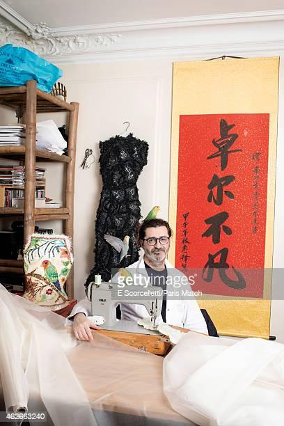 Stylist Franck Sorbier is photographed for Paris Match on December 13 2014 in Paris France