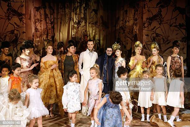 Stylist Franck Sorbier Supportof the Collection actress Alix Benezech and Models acknowledge the applause of the audience at the end of the Franck...