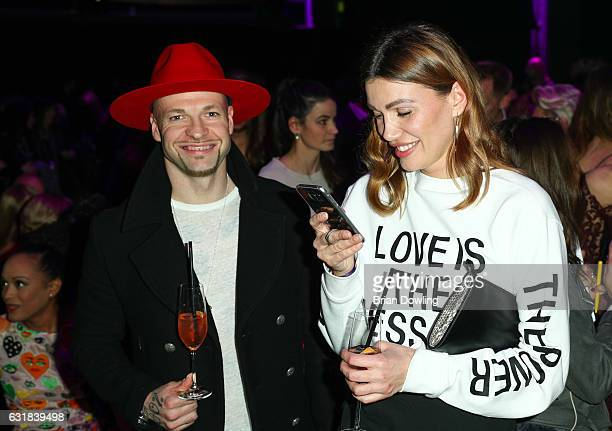 Stylist Jackie Hide and Culcha Candela attend the Maybelline Hot Trendsxhbition 2017 show during the MercedesBenz Fashion Week Berlin A/W 2017 at...