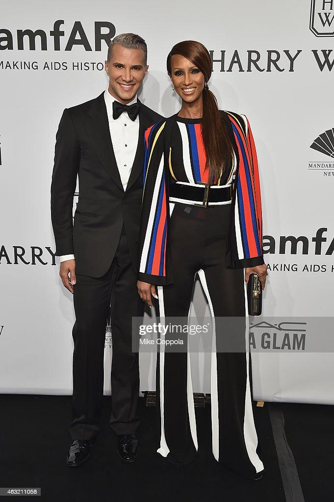 Stylist Jay Manuel and model Iman Abdulmajid attend the 2015 amfAR New York Gala at Cipriani Wall Street on February 11 2015 in New York City