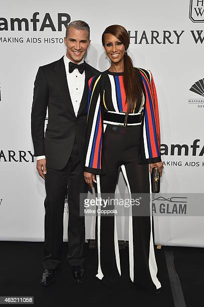 Stylist Jay Manuel and model Iman Abdulmajid attend the 2015 amfAR New York Gala at Cipriani Wall Street on February 11 2015 in New York City