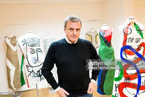 Stylist JeanCharles de Castelbajac is photographed for Paris Match at his office Quai de Jemmapes on December 2 2013 in ParisFrance