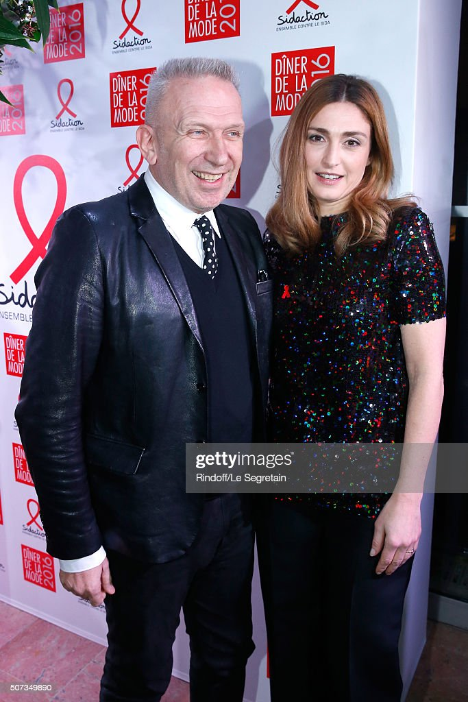 Stylist Jean-Paul Gaultier and Actress <a gi-track='captionPersonalityLinkClicked' href=/galleries/search?phrase=Julie+Gayet&family=editorial&specificpeople=221651 ng-click='$event.stopPropagation()'>Julie Gayet</a> attend the Sidaction Gala Dinner 2016 as part of Paris Fashion Week. Held at Pavillon d'Armenonville on January 28, 2016 in Paris, France.