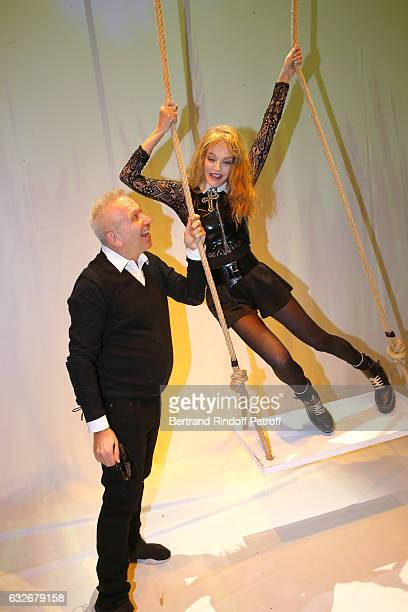 Stylist JeanPaul Gaultier and Arielle Dombasle pose after the Jean Paul Gaultier Haute Couture Spring Summer 2017 show as part of Paris Fashion Week...