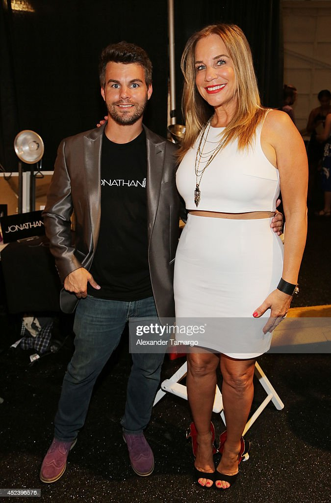 Stylist Jonathan Powell and designer Monica Wise pose backstage at the L*Space By Monica Wise fashion show during MercedesBenz Fashion Week Swim 2015...