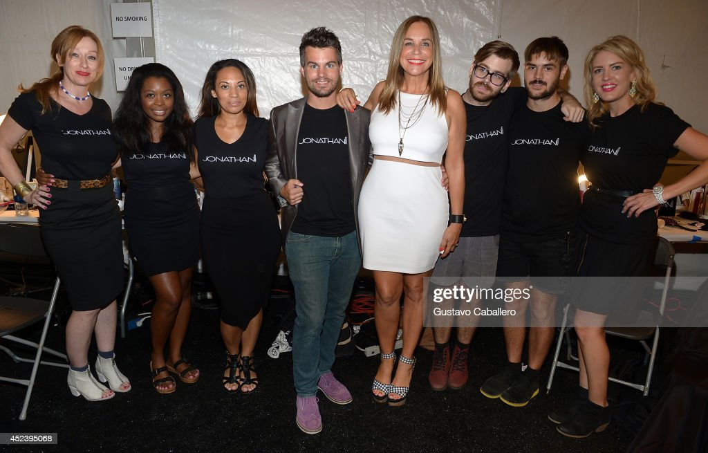 Stylist Jonathan Powell and Designer Monica Wise pose with models backstage at L*SPACE By Monica Wise with Jonathan Product during MercedesBenz...