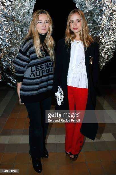 Stylist Julie de Libran and Amelia Windsor pose after the Sonia Rykiel show as part of the Paris Fashion Week Womenswear Fall/Winter 2017/2018 on...