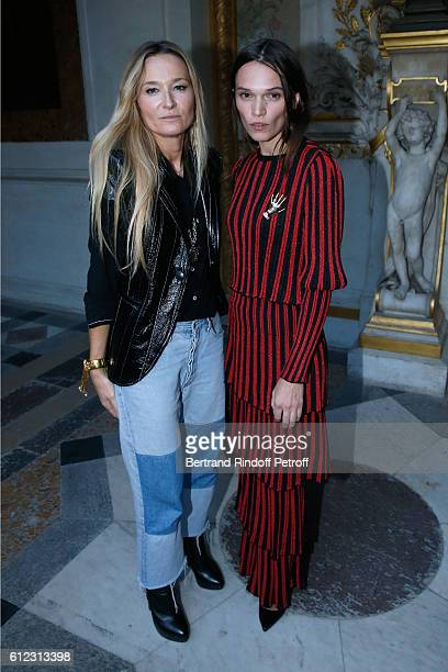 Stylist Julie de Libran and Anna Brewster pose after the Sonia Rykiel show as part of the Paris Fashion Week Womenswear Spring/Summer 2017 on October...