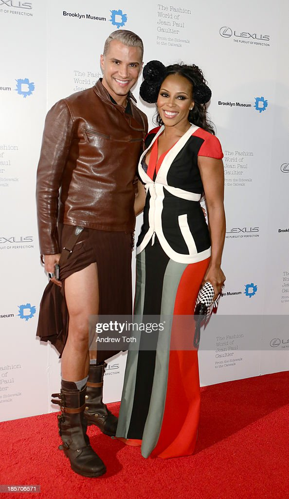 Stylist June Ambrose (R) and Jay Manuel attend the VIP reception and viewing for The Fashion World of Jean Paul Gaultier: From the Sidewalk to the Catwalk at the Brooklyn Museum on October 23, 2013 in the Brooklyn borough of New York City.
