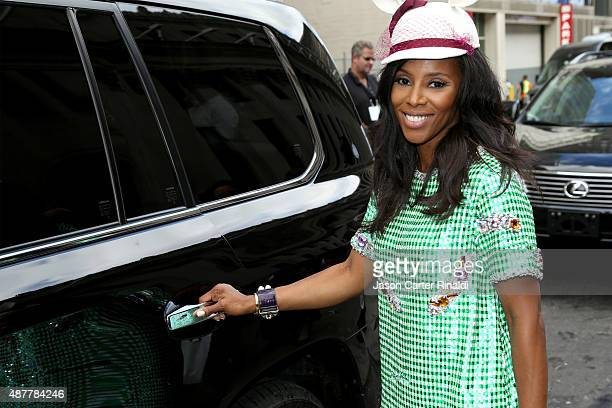Stylist June Ambrose arrives in a Lexus to Skylight at Moynihan Station during Spring 2016 New York Fashion Week The Shows on September 11 2015 in...