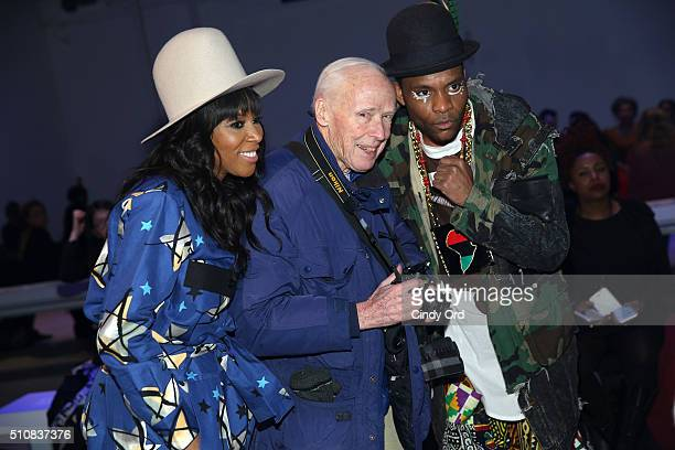 Stylist June Ambrose photographer Bill Cunningham and musician Dapper Afrika attend the Xuly Bet Fall 2016 fashion show during New York Fashion Week...