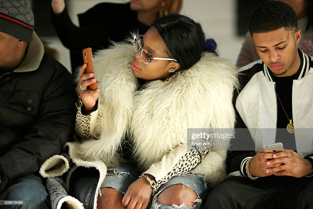 Stylist Kanayo Ebi and TV Personality, <a gi-track='captionPersonalityLinkClicked' href=/galleries/search?phrase=Diggy+Simmons&family=editorial&specificpeople=570604 ng-click='$event.stopPropagation()'>Diggy Simmons</a> attend the Kye Fall 2016 fashion show during New York Fashion Week: The Shows at The Gallery, Skylight at Clarkson Square on February 11, 2016 in New York City.