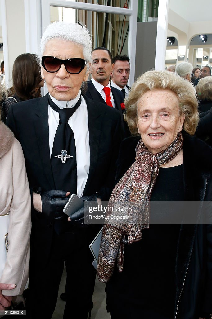Stylist Karl Lagerfeld and Bernadette Chirac attend the Chanel show as part of the Paris Fashion Week Womenswear Fall/Winter 2016/2017 on March 8...