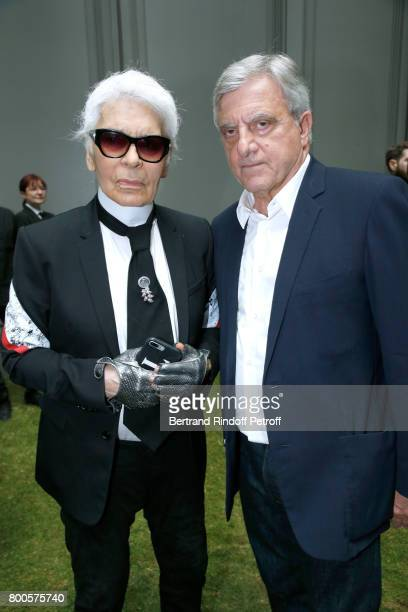 Stylist Karl Lagerfeld and CEO Dior Sidney Toledano attend the Dior Homme Menswear Spring/Summer 2018 show as part of Paris Fashion Week on June 24...