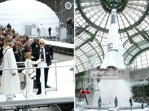 Stylist Karl Lagerfeld and his godson Hudson Kroenig are seen at the end of the Chanel show as part of the Paris Fashion Week Womenswear Fall/Winter...