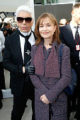 Stylist Karl Lagerfeld and Isabelle Huppert attend the Chanel show as part of the Paris Fashion Week Womenswear Fall/Winter 2016/2017 on March 8 2016...