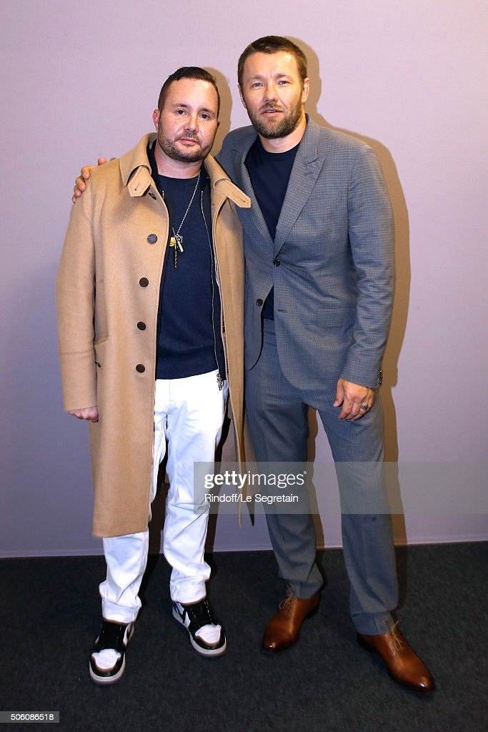 Stylist Kim Jones and Actor and Director Joel Edgerton pose Backstage after the Louis Vuitton Menswear Fall/Winter 2016-2017 Fashion Show as part of Paris Fashion Week. Held at 'Parc Andre Citroen' on January 21, 2016 in Paris, France.