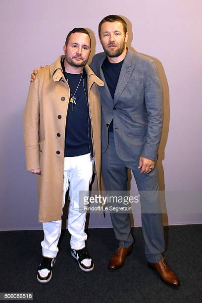 Stylist Kim Jones and Actor and Director Joel Edgerton pose Backstage after the Louis Vuitton Menswear Fall/Winter 20162017 Fashion Show as part of...