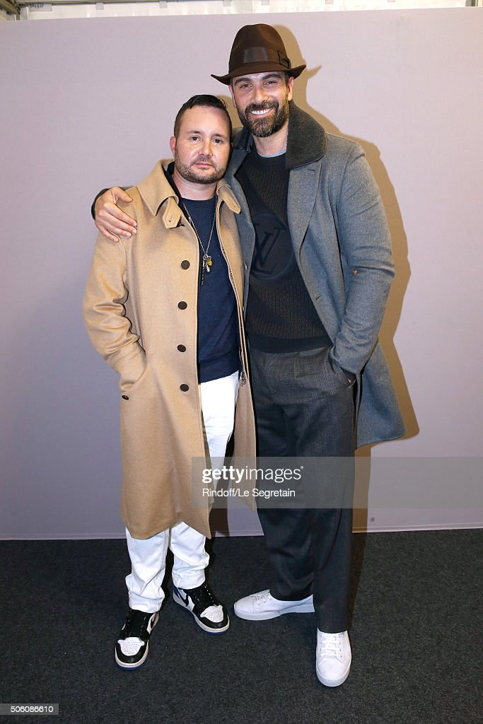 Stylist Kim Jones and Actor Luca Calvani pose Backstage after the Louis Vuitton Menswear Fall/Winter 2016-2017 Fashion Show as part of Paris Fashion Week. Held at 'Parc Andre Citroen' on January 21, 2016 in Paris, France.
