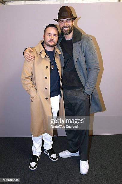 Stylist Kim Jones and Actor Luca Calvani pose Backstage after the Louis Vuitton Menswear Fall/Winter 20162017 Fashion Show as part of Paris Fashion...