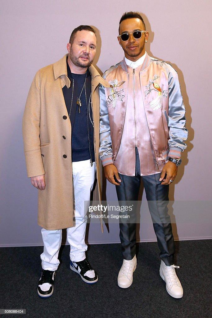 louis vuitton designer 2017. stylist kim jones and champion of the world, driver lewis hamilton pose backstage after louis vuitton designer 2017