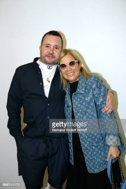 Stylist Kim Jones and Ronnie Cook Newhouse pose after the Louis Vuitton Menswear Spring/Summer 2018 show as part of Paris Fashion Week on June 22...