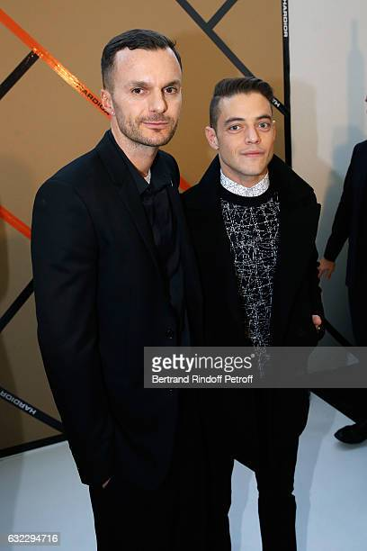 Stylist Kris Van Assche and actor Rami Malek pose backstage after the Dior Homme Menswear Fall/Winter 20172018 show as part of Paris Fashion Week on...