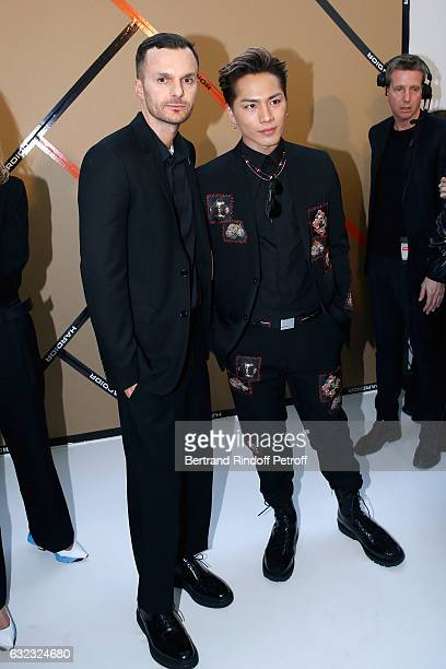Stylist Kris Van Assche and Hiroomi Tosaka pose backstage after the Dior Homme Menswear Fall/Winter 20172018 show as part of Paris Fashion Week on...