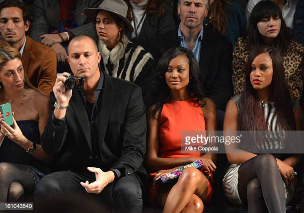 Stylist Lauren Rae Levy TV Personality Nigel Barker actress Nichole Galicia and singer Eve attend the Nicole Miller Fall 2013 fashion show during...