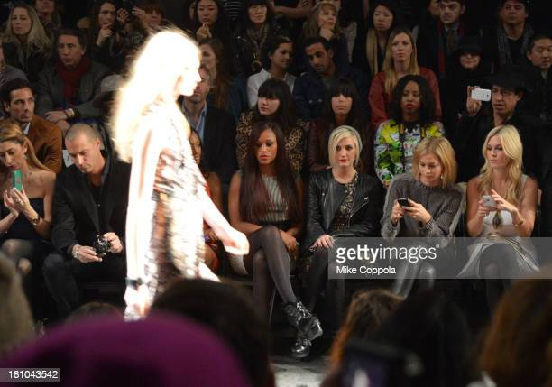 Stylist Lauren Rae Levy TV personality Nigel Barker singer Eve Ashlee Simpson Leigh Lezark and Tinsley Mortimer attend the Nicole Miller Fall 2013...