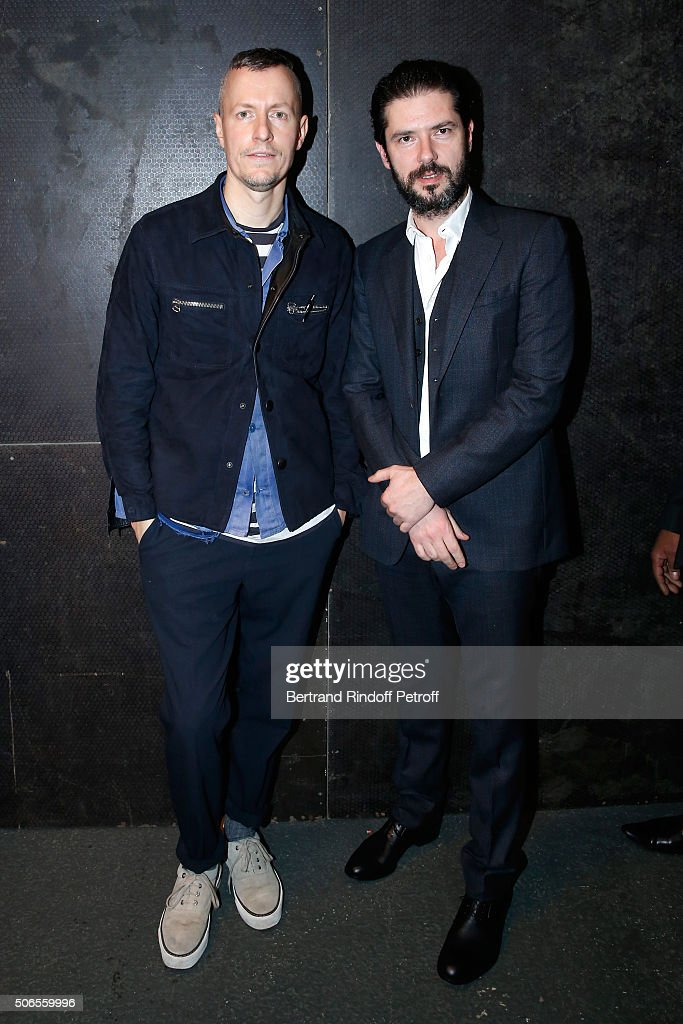 Stylist Lucas Ossendrijver and Actor Melvil Poupaud attend the Lanvin Menswear Fall/Winter 2016-2017 show as part of Paris Fashion Week on January 24, 2016 in Paris, France.