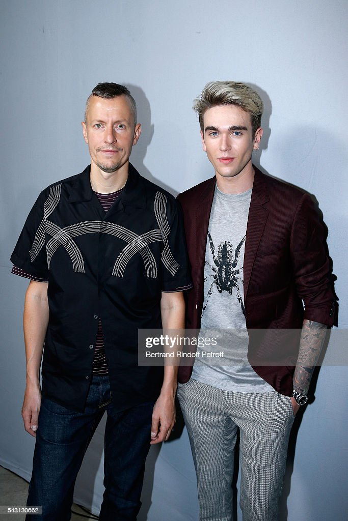 Stylist <a gi-track='captionPersonalityLinkClicked' href=/galleries/search?phrase=Lucas+Ossendrijver&family=editorial&specificpeople=5531949 ng-click='$event.stopPropagation()'>Lucas Ossendrijver</a> and model <a gi-track='captionPersonalityLinkClicked' href=/galleries/search?phrase=Gabriel-Kane+Day-Lewis&family=editorial&specificpeople=13598956 ng-click='$event.stopPropagation()'>Gabriel-Kane Day-Lewis</a> attends the Lanvin Menswear Spring/Summer 2017 show as part of Paris Fashion Week on June 26, 2016 in Paris, France.