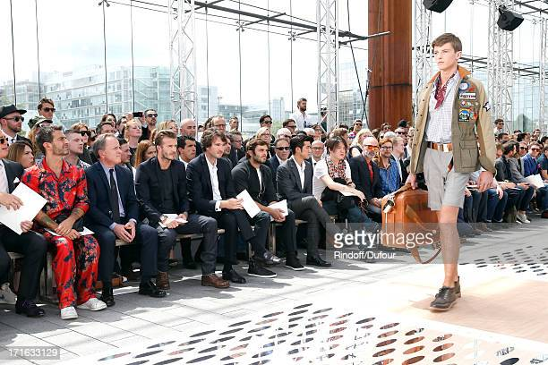Stylist Marc Jacobs CEO of Louis Vuitton Michael Burke former football player David Beckham general manager of Berluti Antoine Arnault actor Pio...