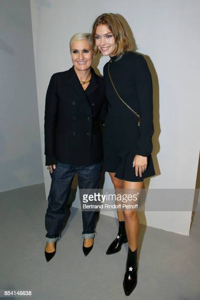 Stylist Maria Grazia Chiuri and Arizona Muse pose backstage after the Christian Dior show as part of the Paris Fashion Week Womenswear Spring/Summer...