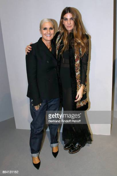 Stylist Maria Grazia Chiuri and Bianca Brandolini d'Adda pose backstage after the Christian Dior show as part of the Paris Fashion Week Womenswear...