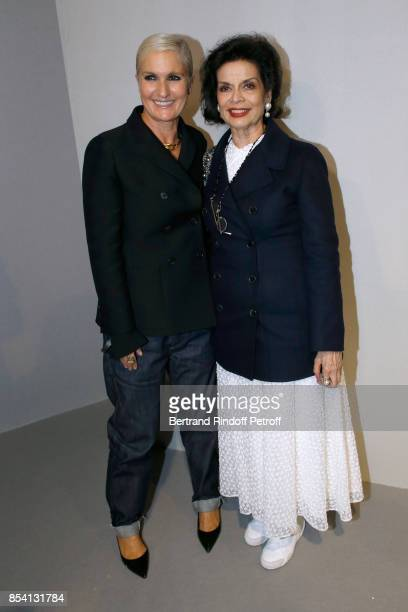 Stylist Maria Grazia Chiuri and Bianca Jagger pose backstage after the Christian Dior show as part of the Paris Fashion Week Womenswear Spring/Summer...