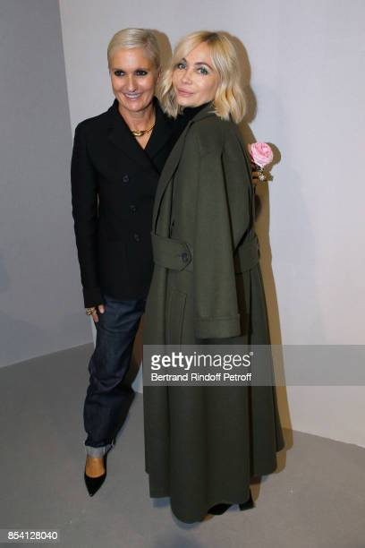 Stylist Maria Grazia Chiuri and Emmanuelle Beart pose backstage after the Christian Dior show as part of the Paris Fashion Week Womenswear...