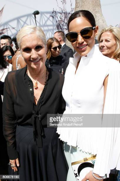 Stylist Maria Grazia Chiuri and guest pose backstage after the Christian Dior Haute Couture Fall/Winter 20172018 show as part of Haute Couture Paris...