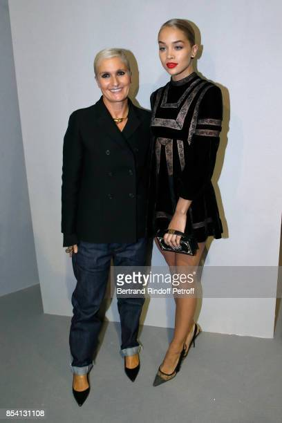 Stylist Maria Grazia Chiuri and Jasmine Sanders pose backstage after the Christian Dior show as part of the Paris Fashion Week Womenswear...