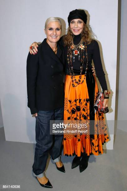 Stylist Maria Grazia Chiuri and Marisa Berenson pose backstage after the Christian Dior show as part of the Paris Fashion Week Womenswear...