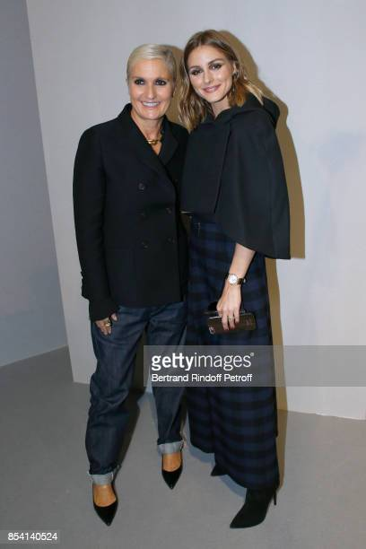 Stylist Maria Grazia Chiuri and Olivia Palermo pose backstage after the Christian Dior show as part of the Paris Fashion Week Womenswear...